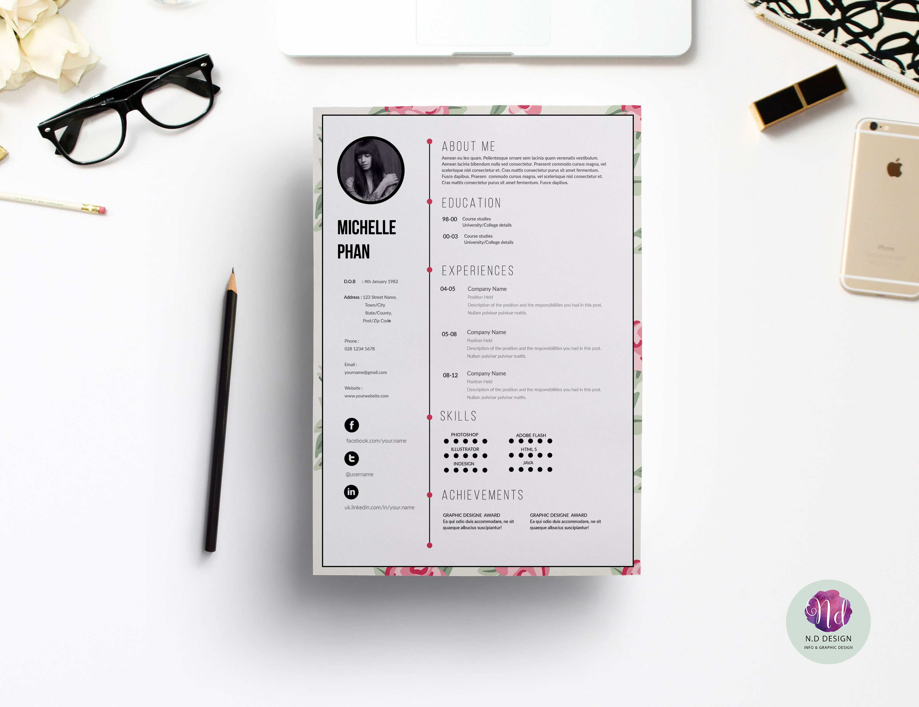 page cv template resume templates creative market