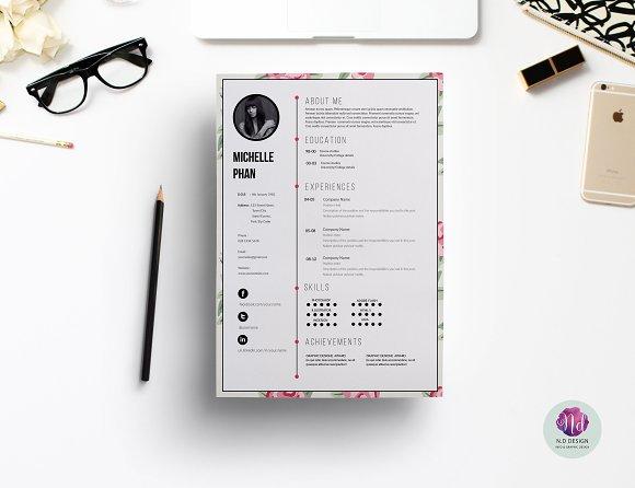 1 page cv template resume templates creative market 1 page cv template resumes pronofoot35fo Images