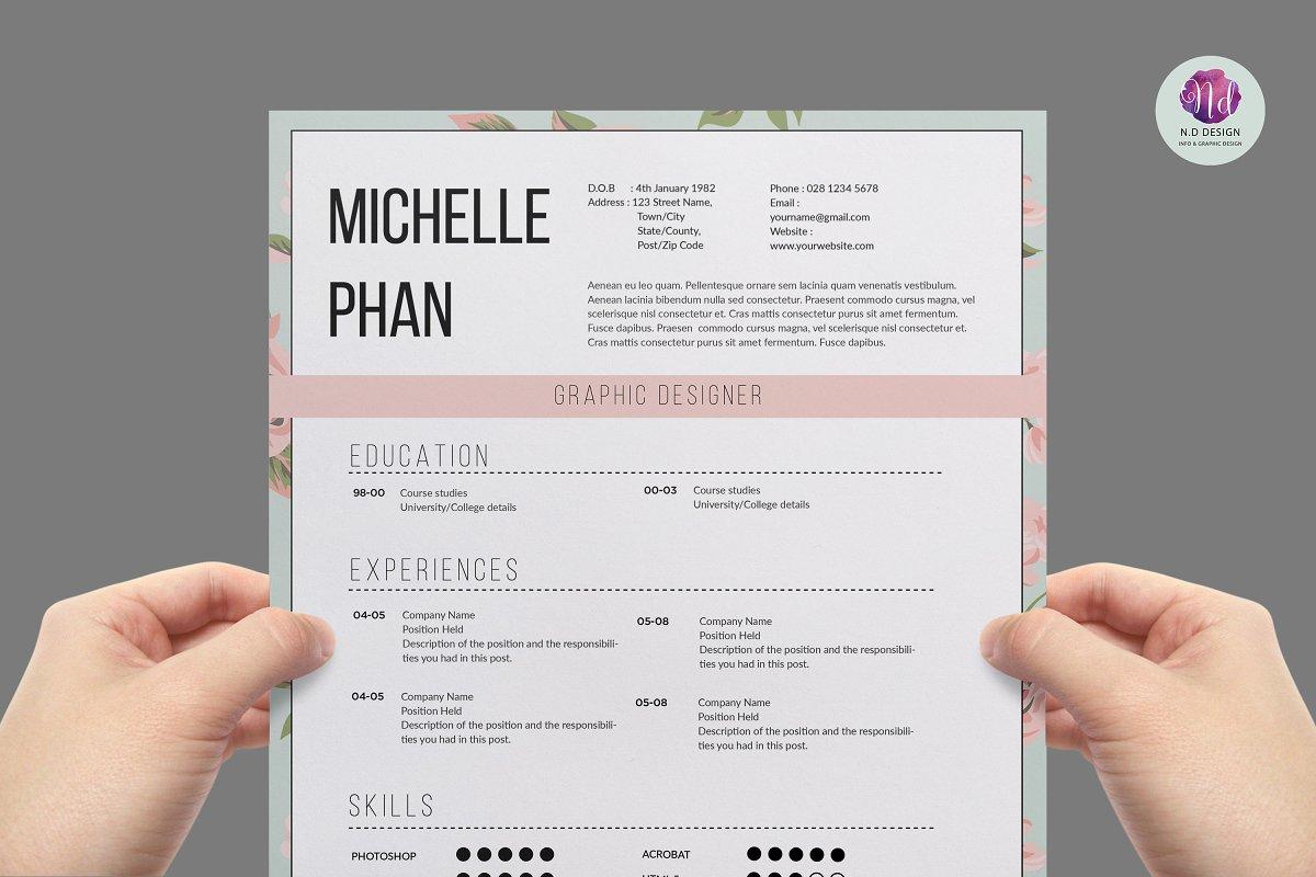 Elegant 1 page CV template ~ Resume Templates ~ Creative Market