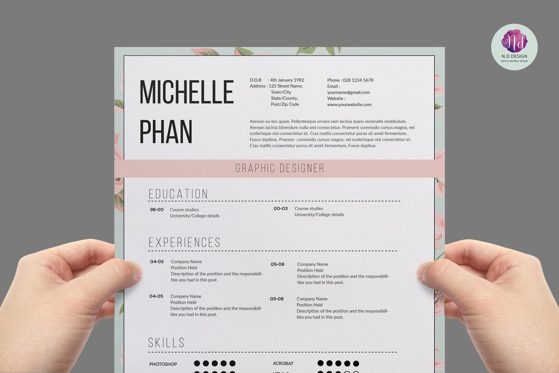 previous - 1 Page Resume Template