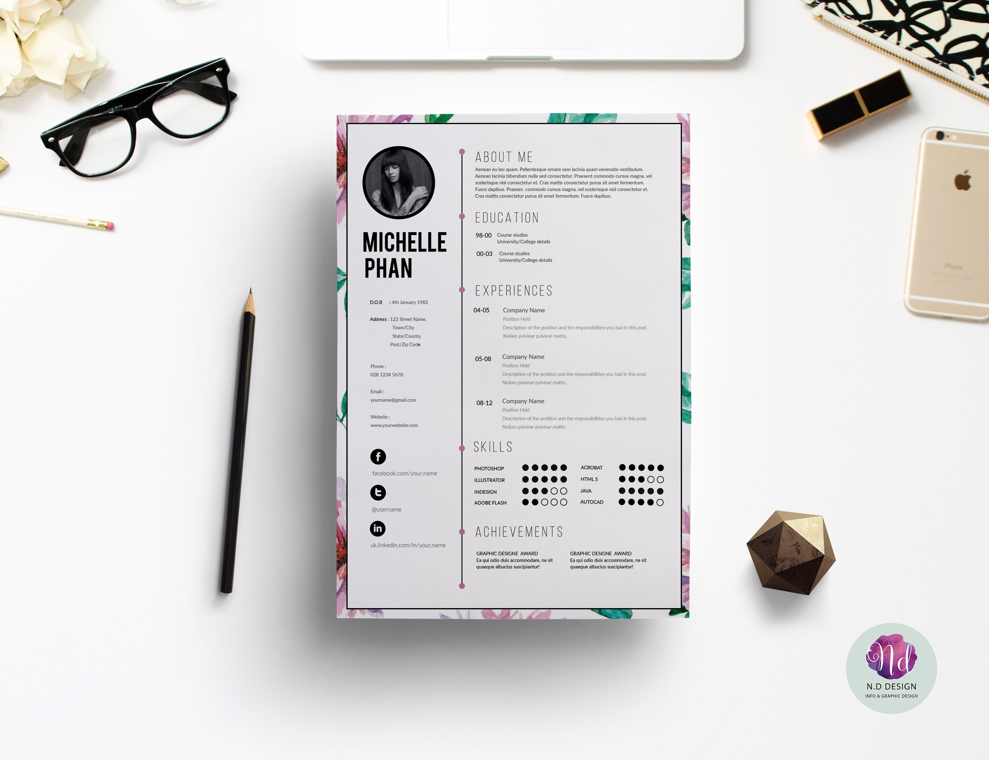 creative resume templates you won t believe are microsoft word floral cv template