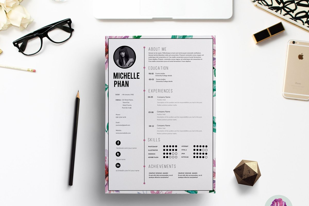 Floral CV Template Resume Templates Creative Market