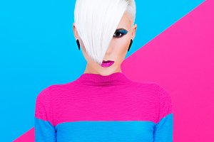 Fashion blond model with trendy hair