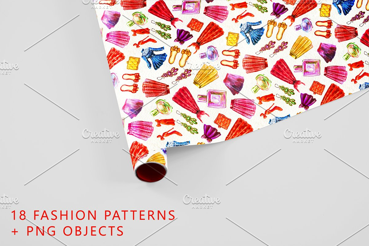 18 Fashion patterns and png objects