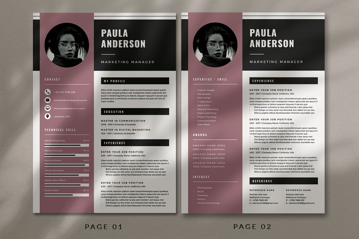 Resume Template / Cv Template in Resume Templates - product preview 1