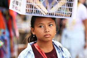 Little girl in Bali market