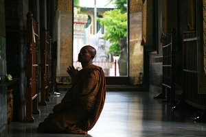 Thai Buddhist Monk Praying