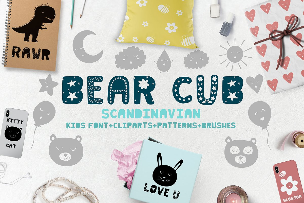 Bear cub Scandinavian kids font+MORE