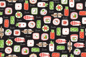 Pattern with Japanese food (sushi)