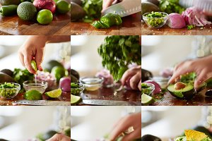 making guacamole recipe collage