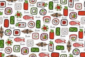 Pattern with hand drawn sushi, rolls