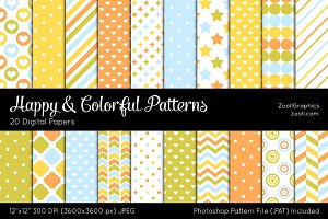 Happy And Colorful Digital Papers