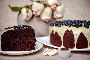 Chocolate cake with blueberry