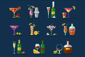 Cocktails & Bottles Icons Set