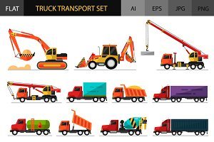 Truck Transport Vector Icons Set