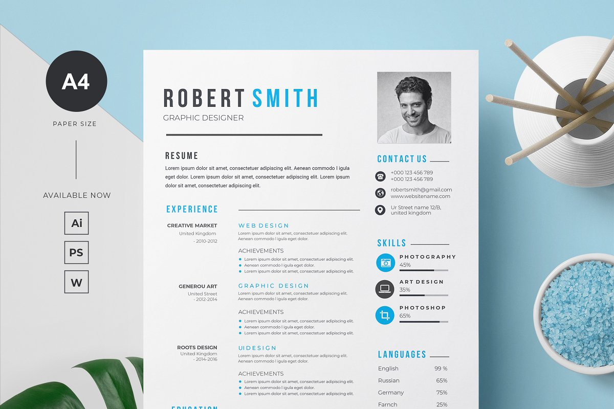 Professional Resume / CV Template in Letter Templates - product preview 8