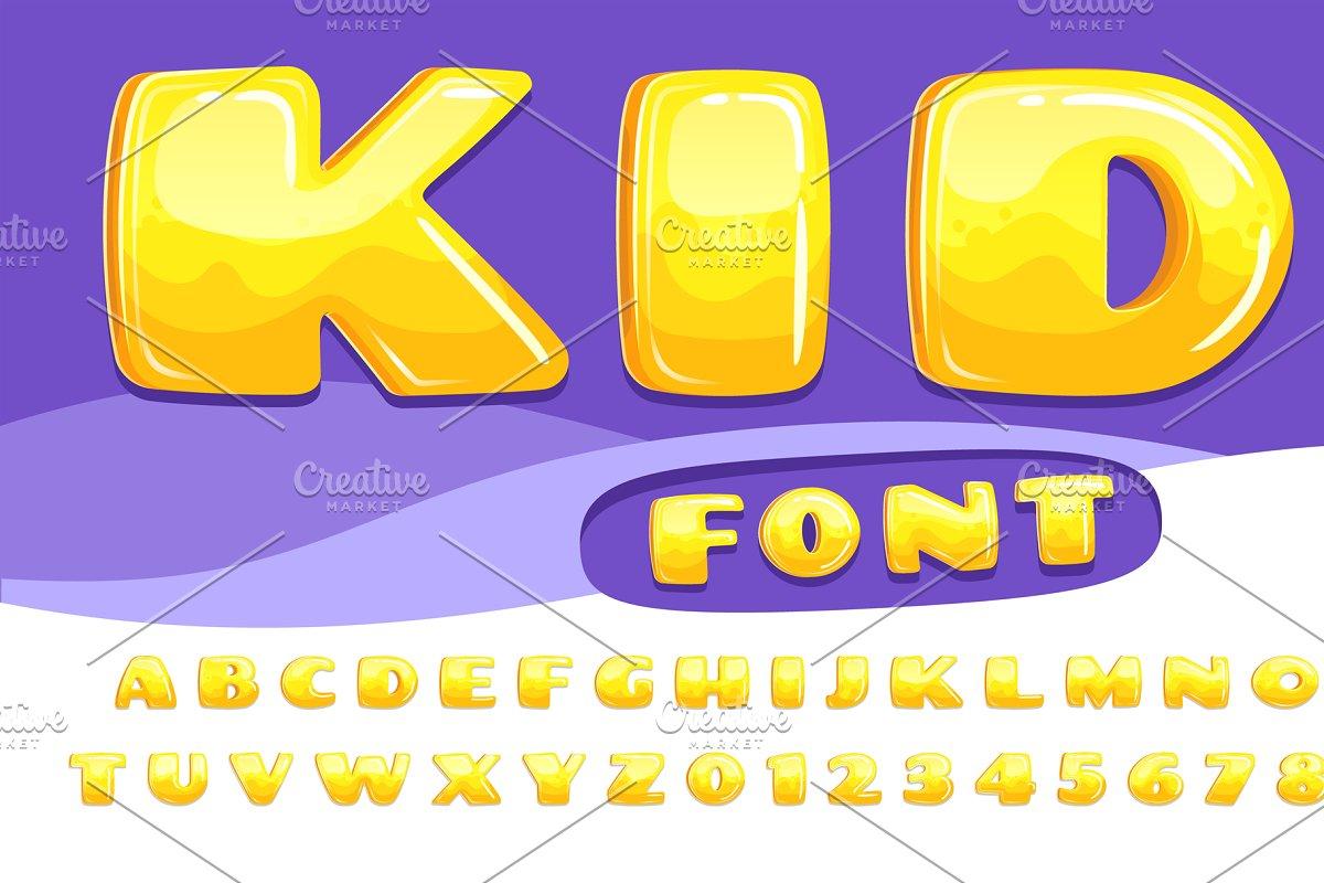 Cartoon chubby font  Kids game alpha