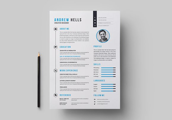 Resume / CV Template in Letter Templates - product preview 2