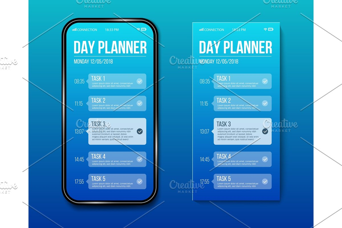 Phone day planner calendar done task