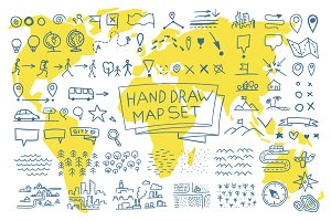 Hand draw map set elements