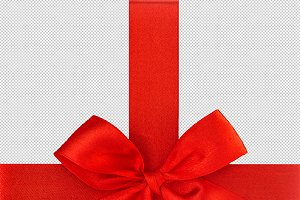 Red ribbon bow isolated PNG