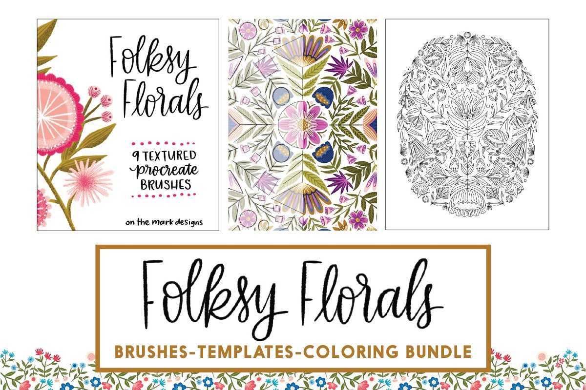 Folksy Florals Design Bundle ~ Illustrations ~ Creative Market