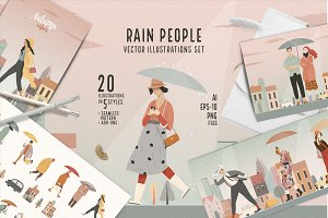 Rain people, vector illustrations
