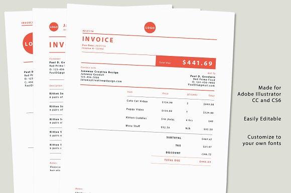 Illustrator Invoice Templates Templates Creative Market - Invoice template illustrator