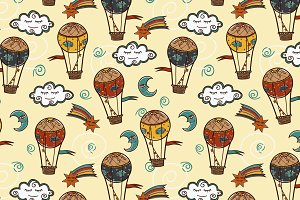 Set with hot air balloons