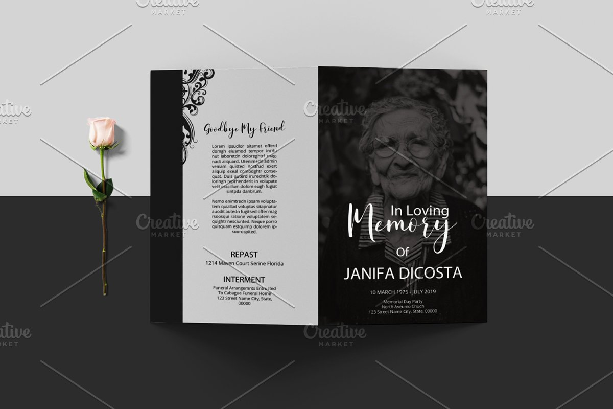 Funeral Program Template-V913 in Brochure Templates - product preview 2