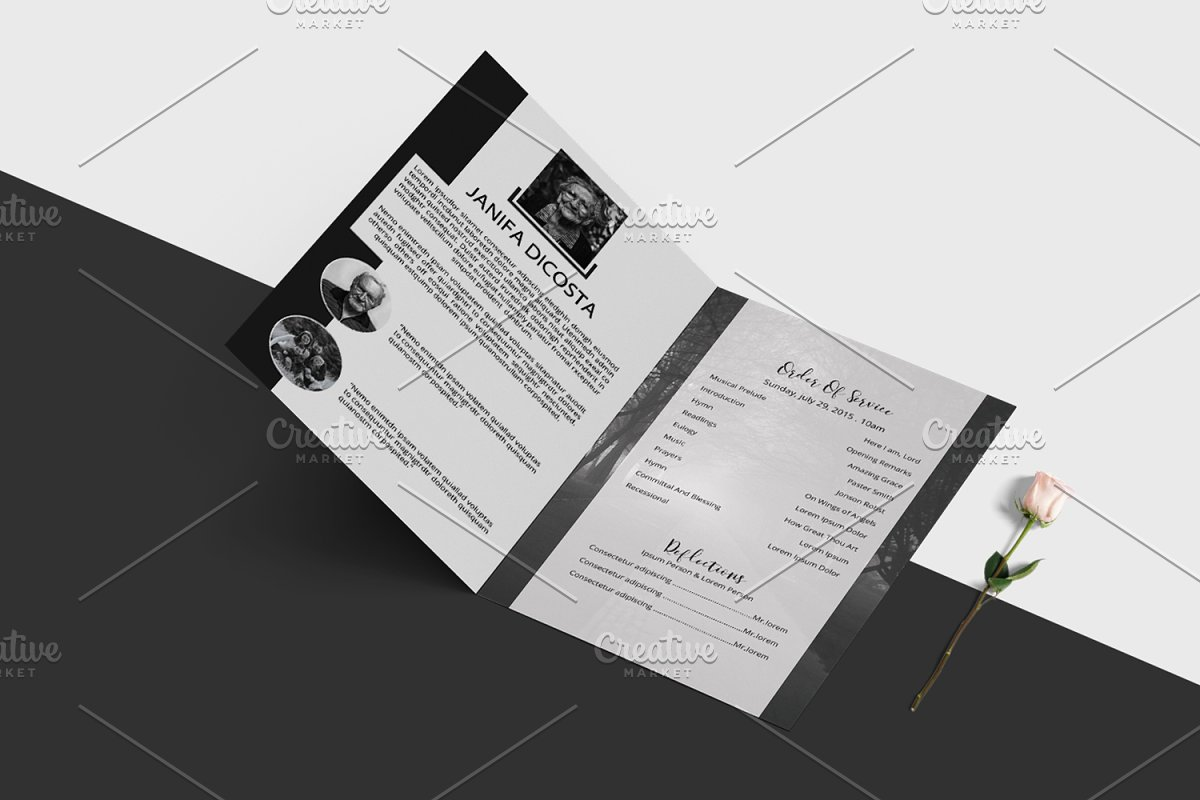 Funeral Program Template-V913 in Brochure Templates - product preview 3