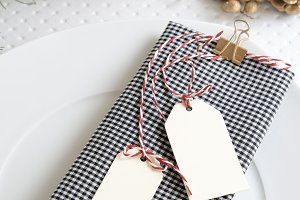 checkered napkin and labels, Christm