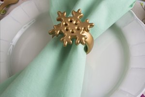 christmas place setting, aquamarine