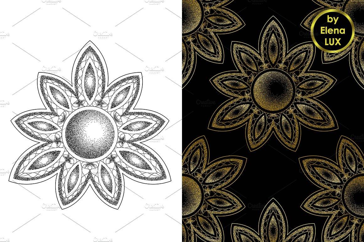 Mandala Dotwork Tattoo + Seamless