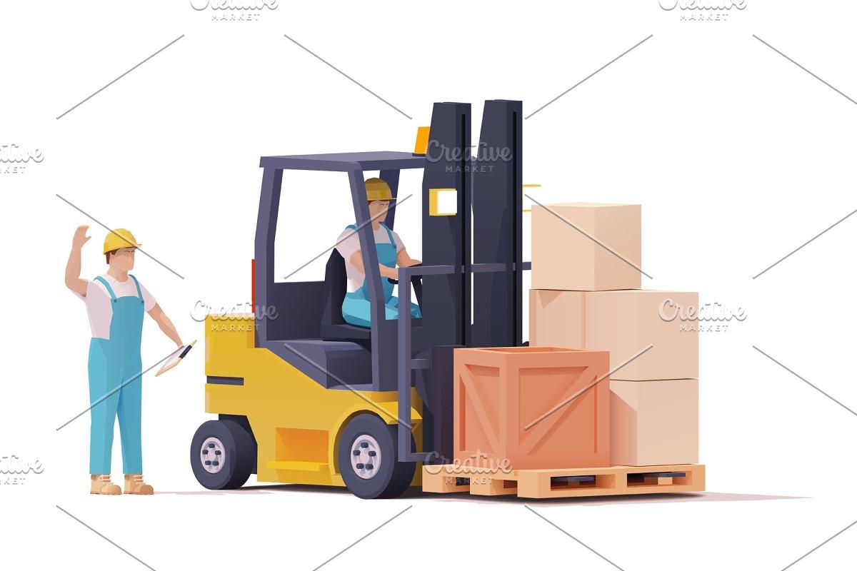 Vector forklift moving loaded pallet