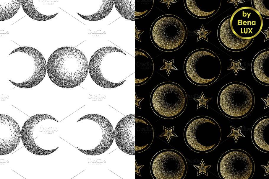 Moon Dotwork Seamless Set