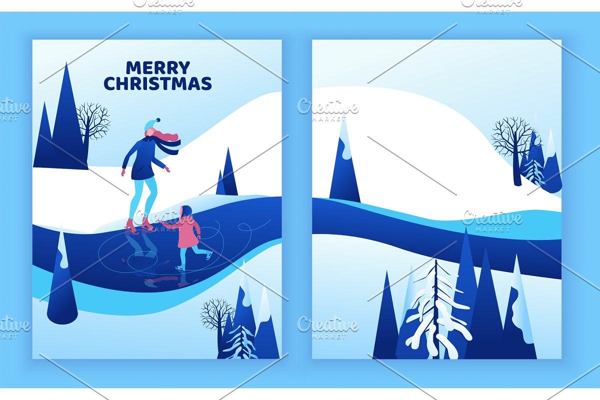 Ice skating greeting card, isometric