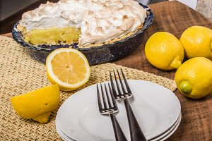 Lemon meringue pie and lemons