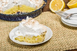 Slice of homemade lemon meringue pie