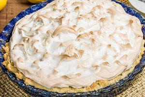 Lemon meringue pie in platter