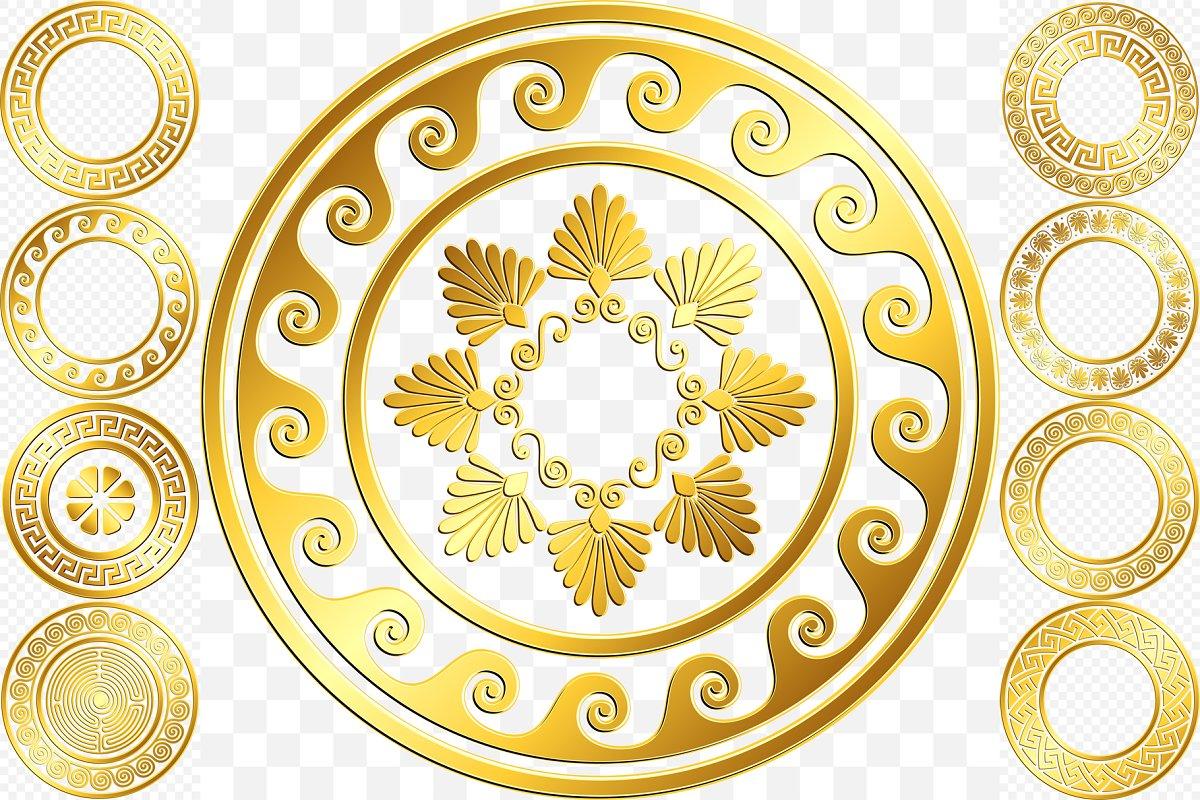 Set Golden round Greek ornament