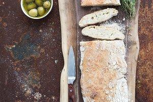 Homemade ciabatta bread with olives