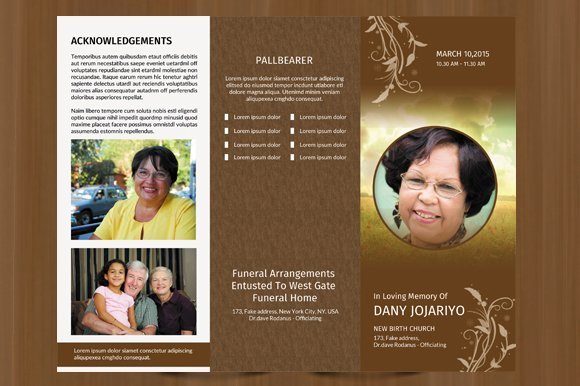 Trifold Funeral program template184 Brochure Templates – Obituary Program Template