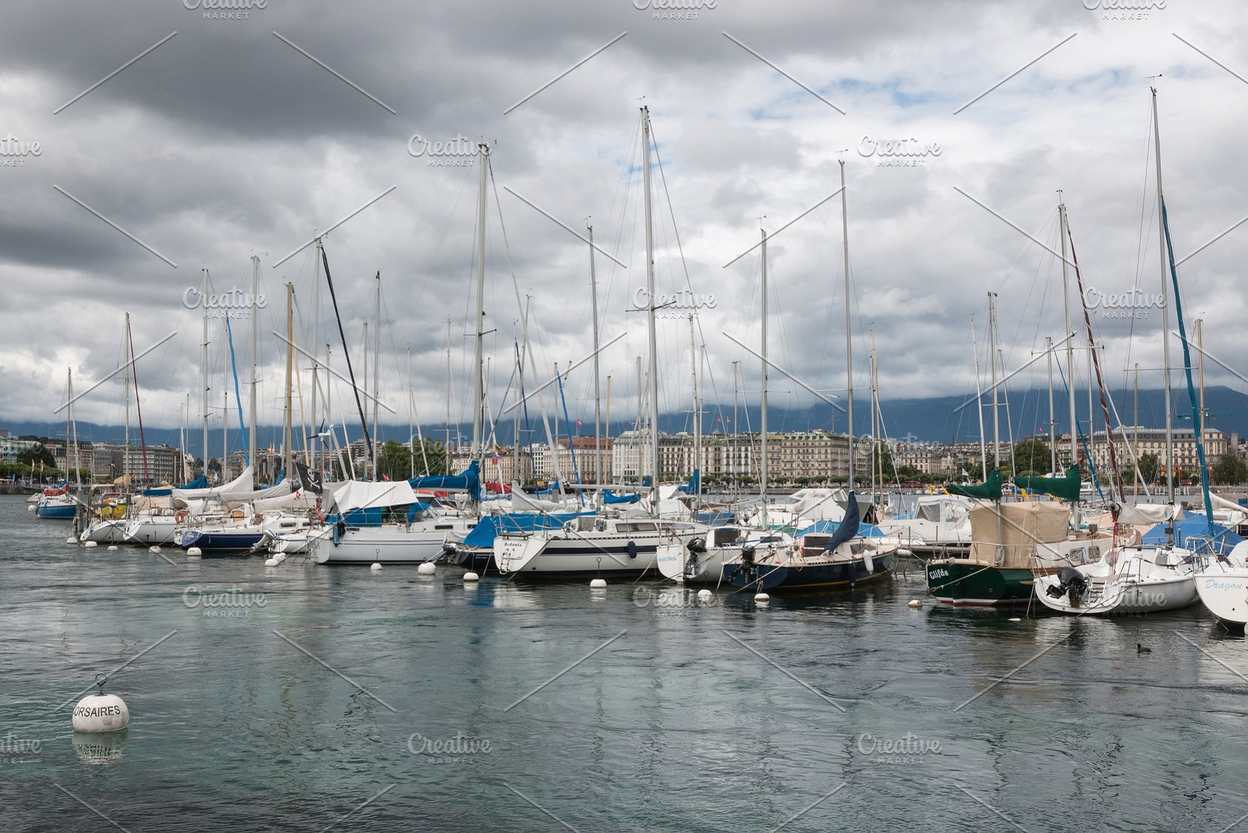 View on Geneva lake with boats