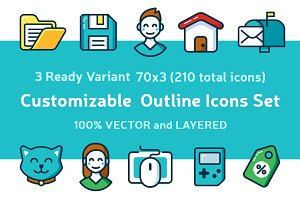 Customizable Outline Icons Set