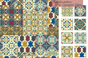Set of 9 ceramic tiles - patterns
