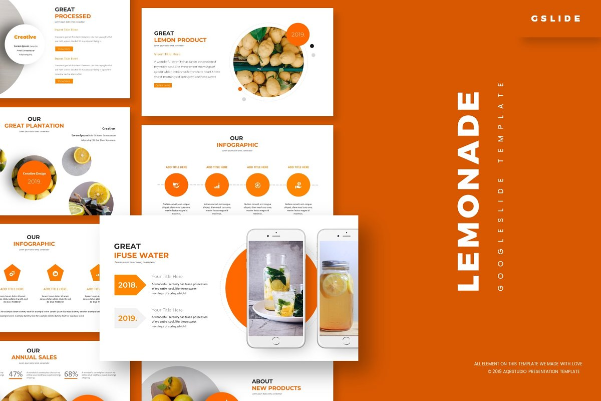Lemonade - Google Slides Template ~ Presentation Templates
