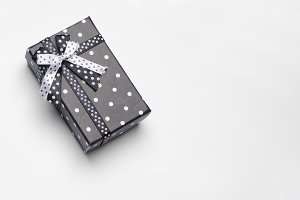 Small black gift box with ribbon top