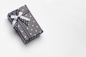 Small black gift box with ribbon top