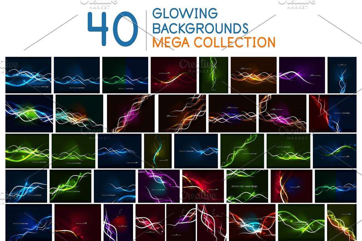 Mega set of glowing neon wave lines
